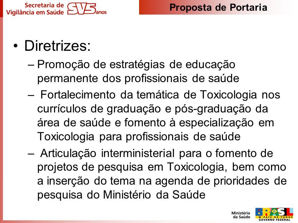 Diretrizes: –Promoção de estratégias de educação permanente dos profissionais de saúde – Fortalecimento da temática de Toxicologia nos currículos de g