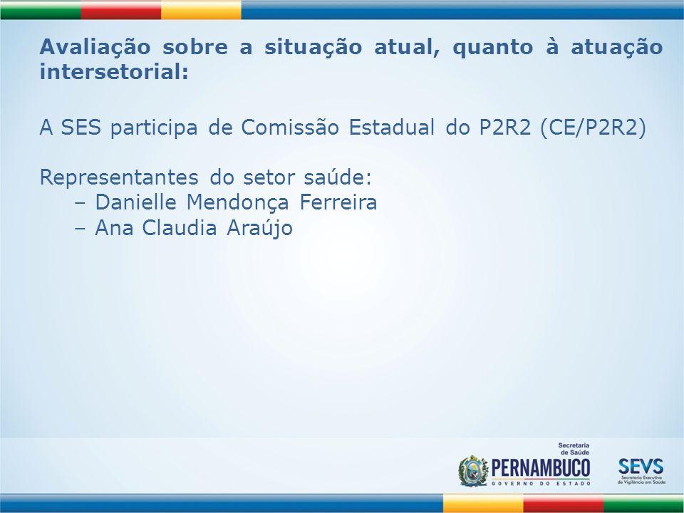 Avaliação sobre a situação atual, quanto à atuação intersetorial: A SES participa de Comissão Estadual do P2R2 (CE/P2R2) Representantes do setor saúde
