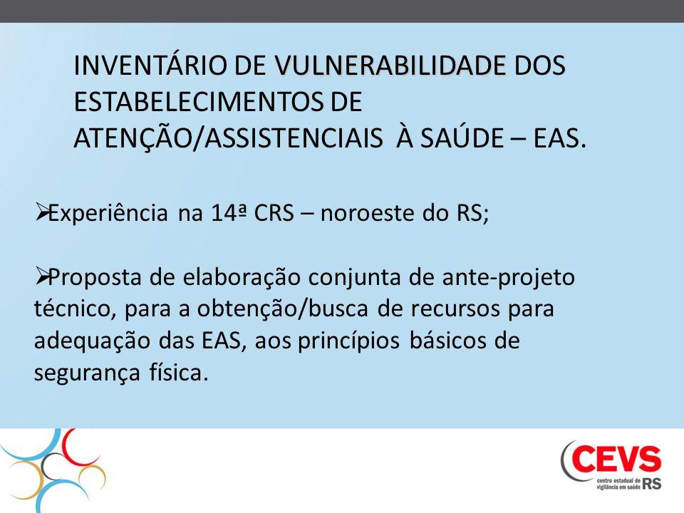 VULNERABILIDADE INVENTÁRIO DE VULNERABILIDADE DOS ESTABELECIMENTOS DE ATENÇÃO/ASSISTENCIAIS À SAÚDE – EAS. Experiência na 14ª CRS – noroeste do RS; Pr