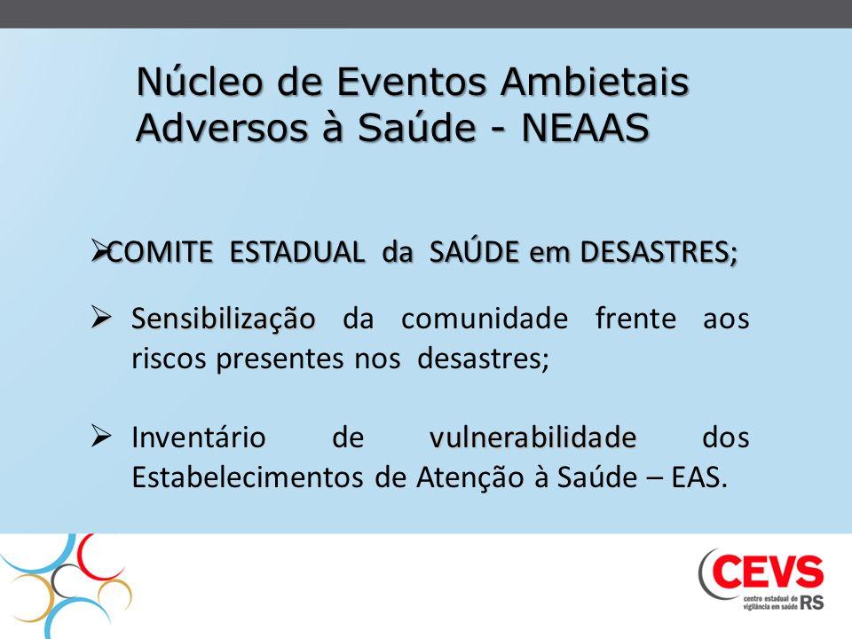 Núcleo de Eventos Ambietais Adversos à Saúde - NEAAS COMITE ESTADUAL da SAÚDE em DESASTRES; COMITE ESTADUAL da SAÚDE em DESASTRES; Sensibilização Sens