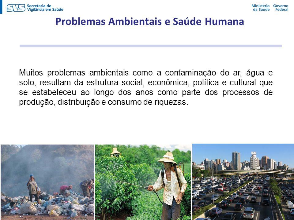 Muitos problemas ambientais como a contaminação do ar, água e solo, resultam da estrutura social, econômica, política e cultural que se estabeleceu ao
