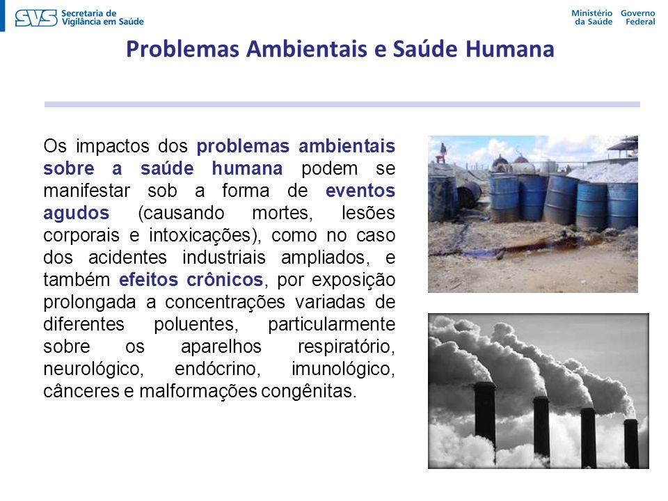 Os impactos dos problemas ambientais sobre a saúde humana podem se manifestar sob a forma de eventos agudos (causando mortes, lesões corporais e intox