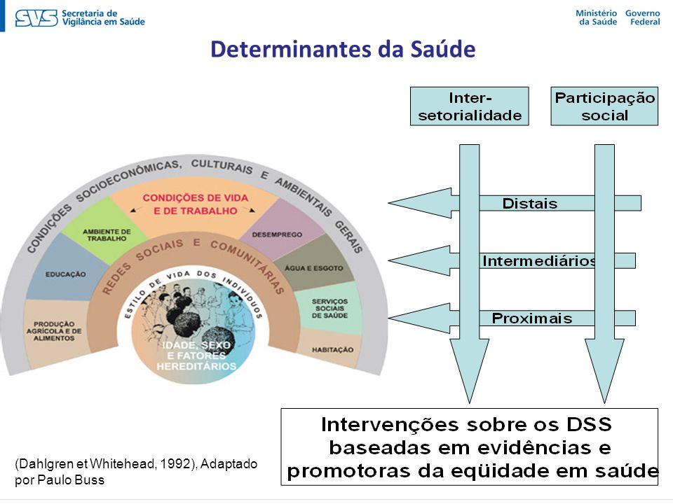 (Dahlgren et Whitehead, 1992), Adaptado por Paulo Buss Determinantes da Saúde