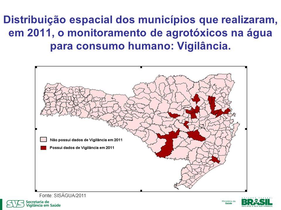 Distribuição espacial dos municípios que realizaram, em 2011, o monitoramento de agrotóxicos na água para consumo humano: Vigilância. Fonte: SISÁGUA/2