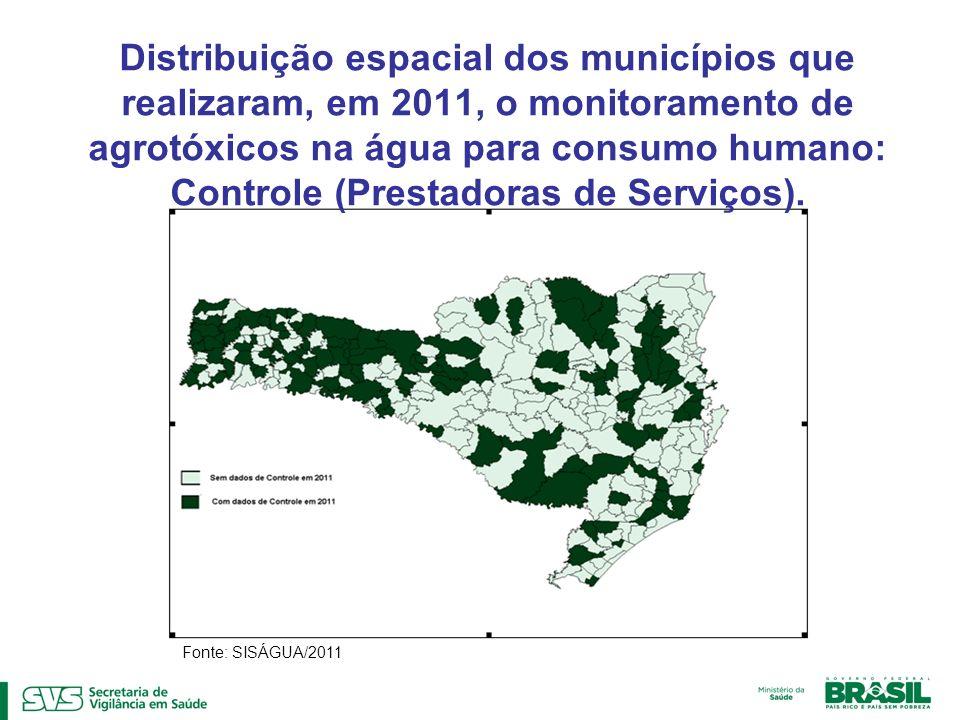 Distribuição espacial dos municípios que realizaram, em 2011, o monitoramento de agrotóxicos na água para consumo humano: Controle (Prestadoras de Ser