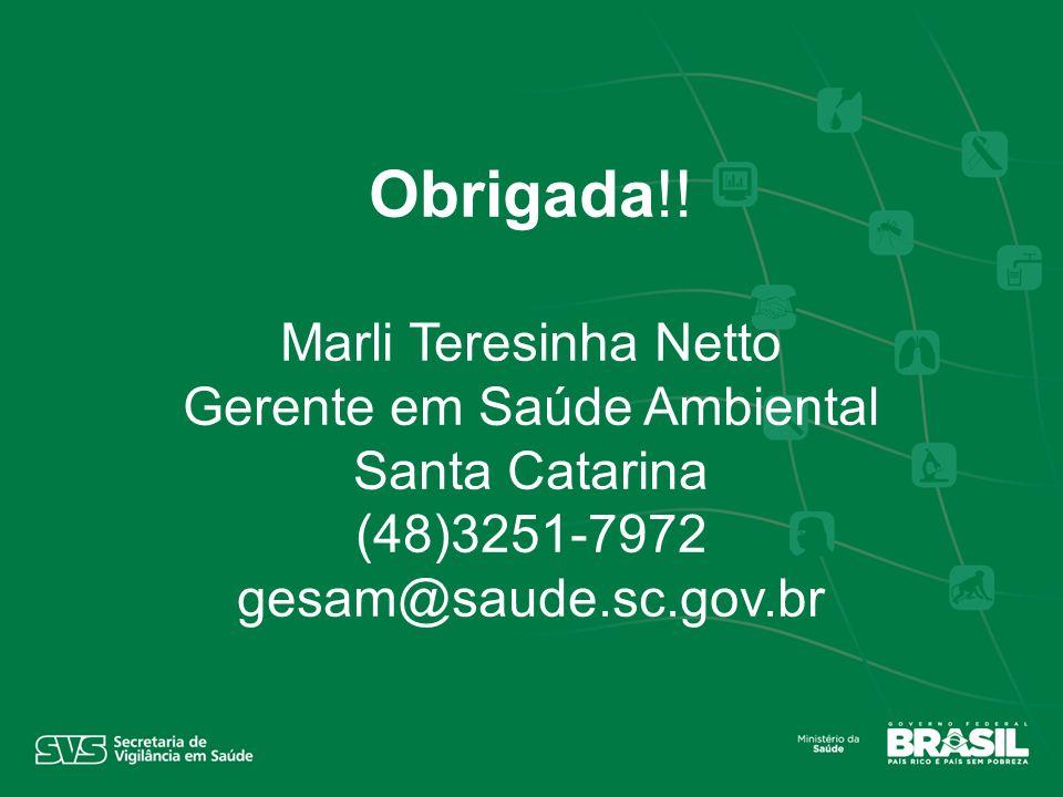 Obrigada!! Marli Teresinha Netto Gerente em Saúde Ambiental Santa Catarina (48)3251-7972 gesam@saude.sc.gov.br