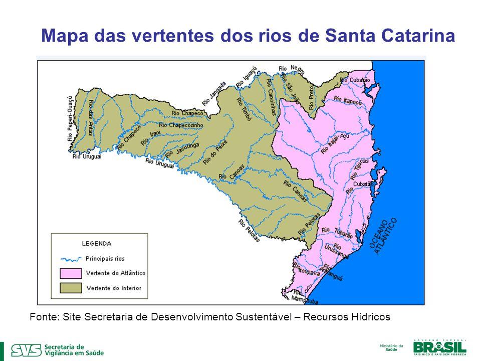 Fonte: Site Secretaria de Desenvolvimento Sustentável – Recursos Hídricos Mapa das vertentes dos rios de Santa Catarina