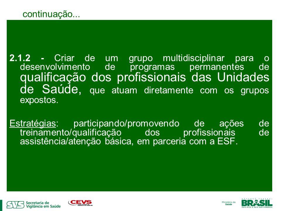 2.1.2 - Criar de um grupo multidisciplinar para o desenvolvimento de programas permanentes de qualificação dos profissionais das Unidades de Saúde, qu
