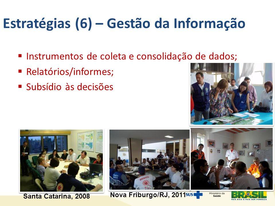 Estratégias (6) – Gestão da Informação Instrumentos de coleta e consolidação de dados; Relatórios/informes; Subsídio às decisões Santa Catarina, 2008 Nova Friburgo/RJ, 2011