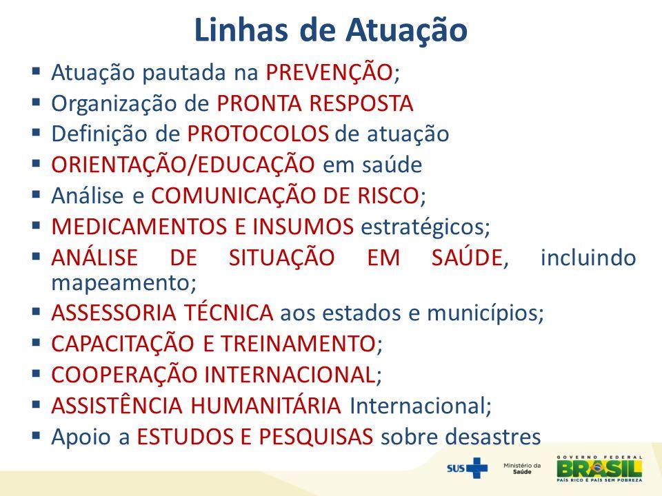 Atuação - Objetivo Desenvolver um conjunto de ações a serem adotadas continuamente pelas autoridades de saúde pública para: Reduzir a exposição da população e dos profissionais de saúde aos riscos de desastres.