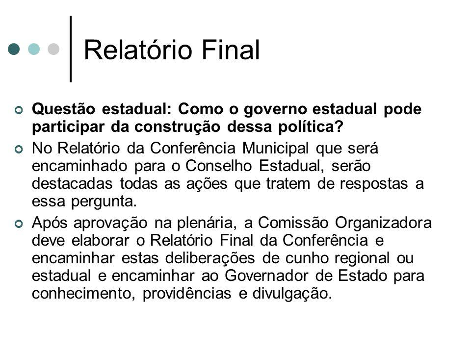 Relatório Final Questão estadual: Como o governo estadual pode participar da construção dessa política? No Relatório da Conferência Municipal que será