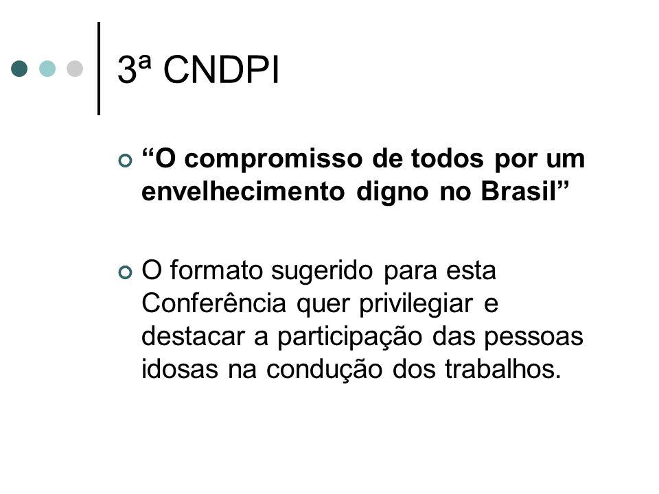 3ª CNDPI O compromisso de todos por um envelhecimento digno no Brasil O formato sugerido para esta Conferência quer privilegiar e destacar a participa