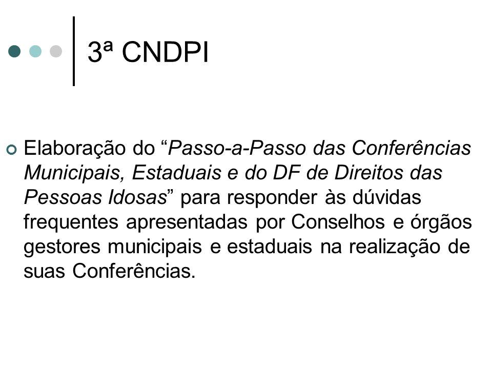 3ª CNDPI Elaboração do Passo-a-Passo das Conferências Municipais, Estaduais e do DF de Direitos das Pessoas Idosas para responder às dúvidas frequente