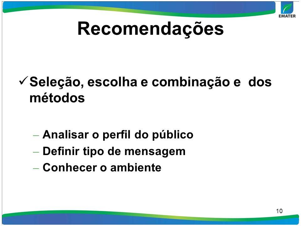 Recomendações Seleção, escolha e combinação e dos métodos – Analisar o perfil do público – Definir tipo de mensagem – Conhecer o ambiente 10