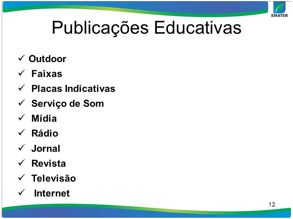 Publicações Educativas Outdoor Faixas Placas Indicativas Serviço de Som Mídia Rádio Jornal Revista Televisão Internet 12