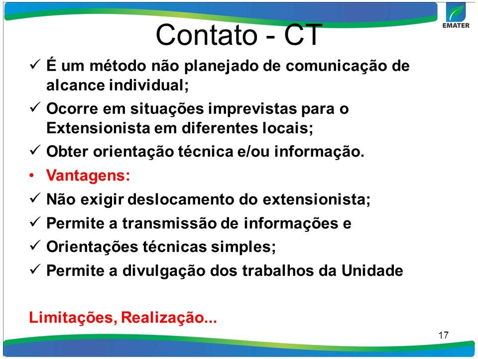 Contato - CT É um método não planejado de comunicação de alcance individual; Ocorre em situações imprevistas para o Extensionista em diferentes locais
