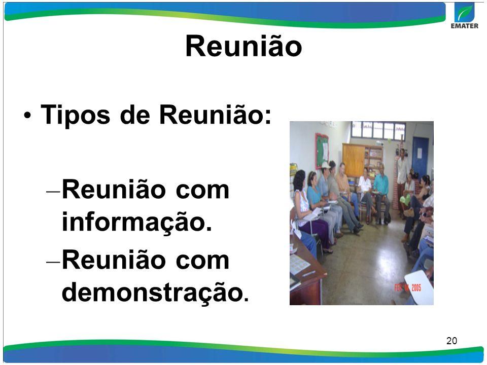 Reunião 20 Tipos de Reunião: – Reunião com informação. – Reunião com demonstração.