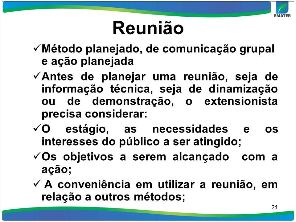 Reunião Método planejado, de comunicação grupal e ação planejada Antes de planejar uma reunião, seja de informação técnica, seja de dinamização ou de