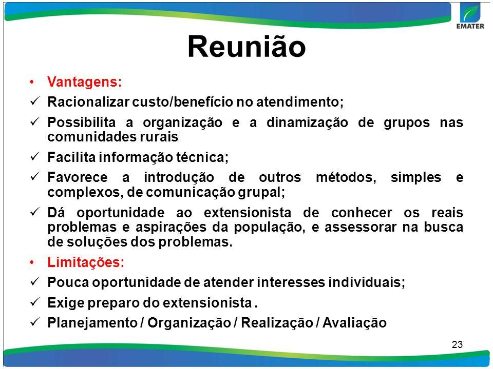 Reunião Vantagens: Racionalizar custo/benefício no atendimento; Possibilita a organização e a dinamização de grupos nas comunidades rurais Facilita in