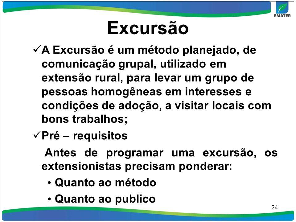 Excursão A Excursão é um método planejado, de comunicação grupal, utilizado em extensão rural, para levar um grupo de pessoas homogêneas em interesses