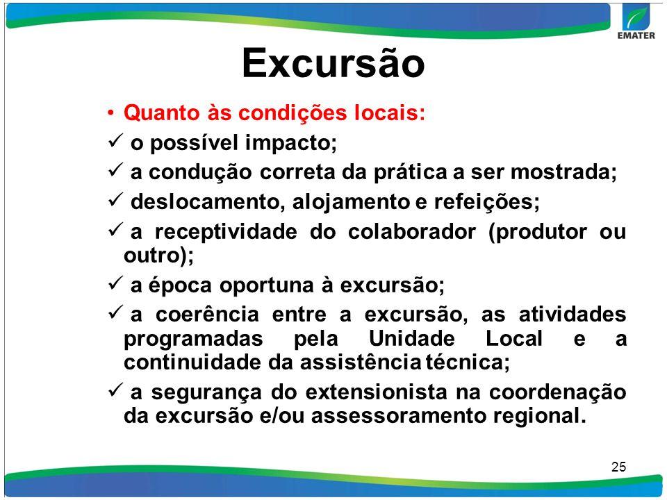 Excursão Quanto às condições locais: o possível impacto; a condução correta da prática a ser mostrada; deslocamento, alojamento e refeições; a recepti