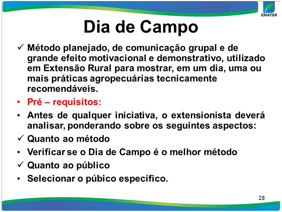 Dia de Campo Método planejado, de comunicação grupal e de grande efeito motivacional e demonstrativo, utilizado em Extensão Rural para mostrar, em um