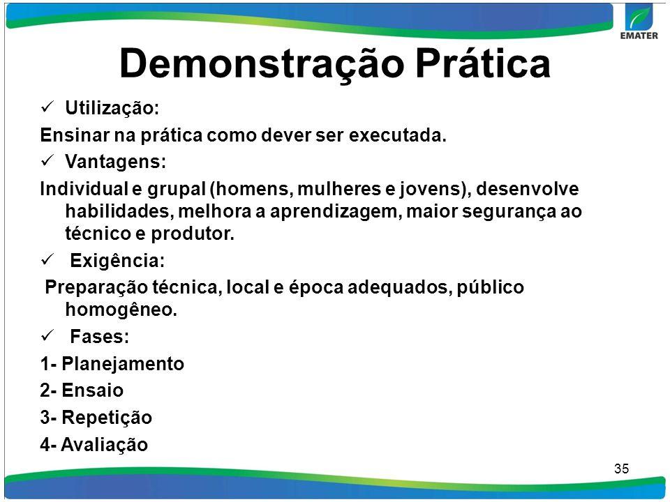 Demonstração Prática Utilização: Ensinar na prática como dever ser executada. Vantagens: Individual e grupal (homens, mulheres e jovens), desenvolve h