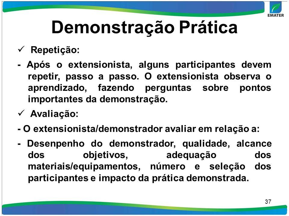 Demonstração Prática Repetição: - Após o extensionista, alguns participantes devem repetir, passo a passo. O extensionista observa o aprendizado, faze