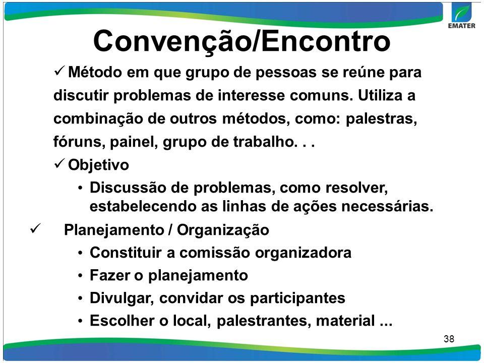 Convenção/Encontro Método em que grupo de pessoas se reúne para discutir problemas de interesse comuns. Utiliza a combinação de outros métodos, como: