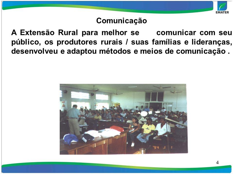 4 Comunicação A Extensão Rural para melhor se comunicar com seu público, os produtores rurais / suas famílias e lideranças, desenvolveu e adaptou méto