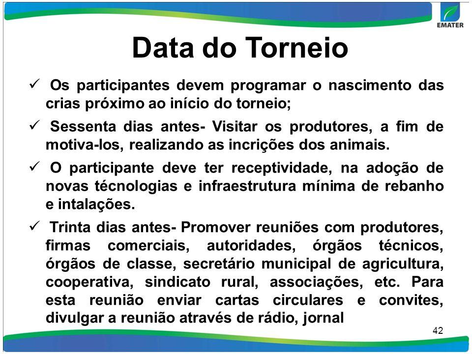 Data do Torneio Os participantes devem programar o nascimento das crias próximo ao início do torneio; Sessenta dias antes- Visitar os produtores, a fi