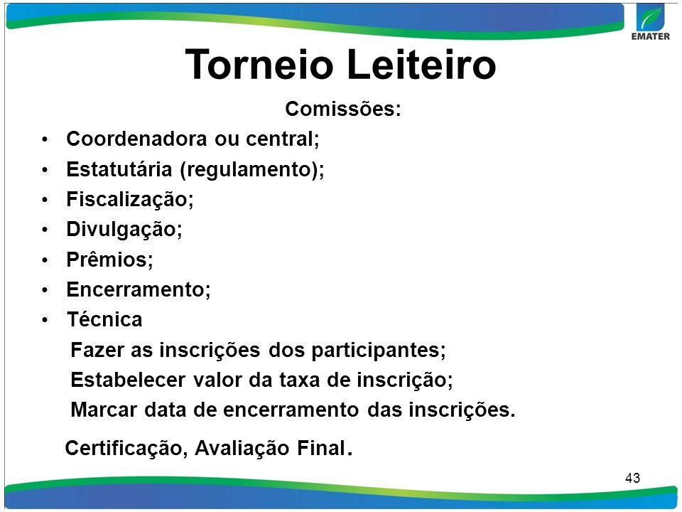 Torneio Leiteiro Comissões: Coordenadora ou central; Estatutária (regulamento); Fiscalização; Divulgação; Prêmios; Encerramento; Técnica Fazer as insc
