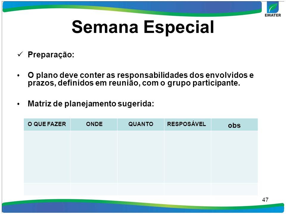 Semana Especial Preparação: O plano deve conter as responsabilidades dos envolvidos e prazos, definidos em reunião, com o grupo participante. Matriz d