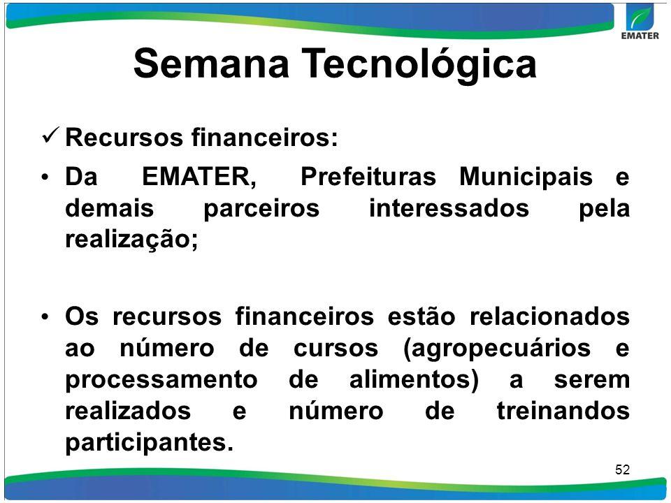 Semana Tecnológica Recursos financeiros: Da EMATER, Prefeituras Municipais e demais parceiros interessados pela realização; Os recursos financeiros es