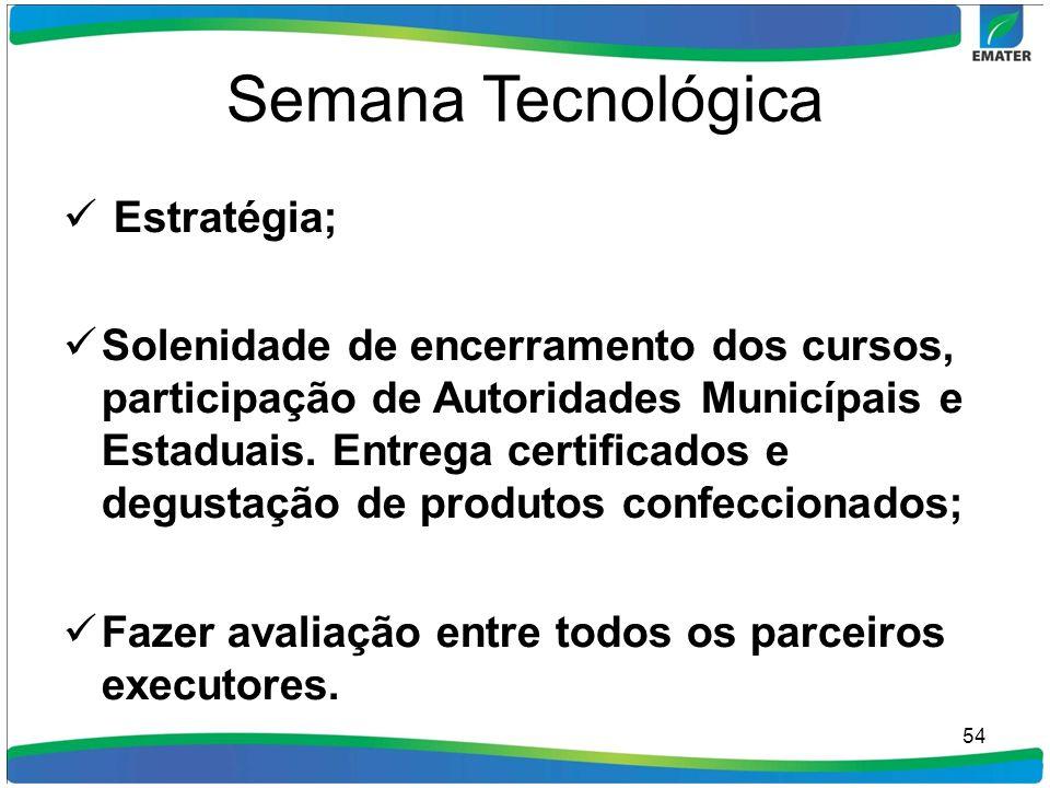 Semana Tecnológica Estratégia; Solenidade de encerramento dos cursos, participação de Autoridades Municípais e Estaduais. Entrega certificados e degus