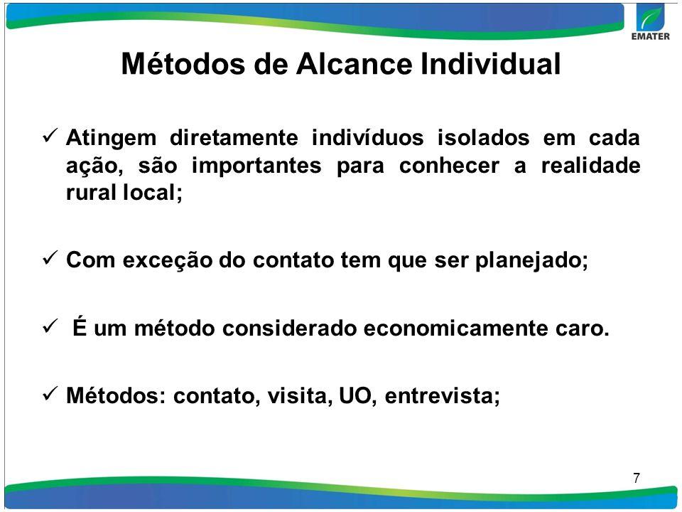 Métodos de Alcance Individual Atingem diretamente indivíduos isolados em cada ação, são importantes para conhecer a realidade rural local; Com exceção