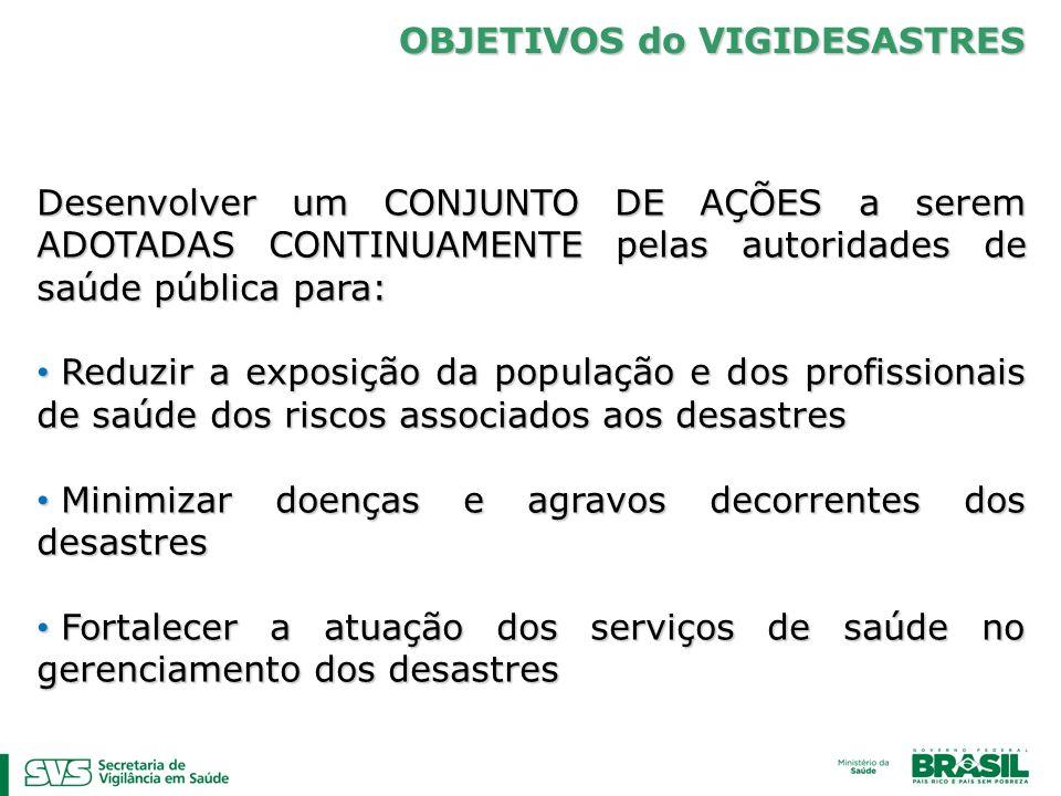 OBJETIVOS do VIGIDESASTRES Desenvolver um CONJUNTO DE AÇÕES a serem ADOTADAS CONTINUAMENTE pelas autoridades de saúde pública para: Reduzir a exposiçã