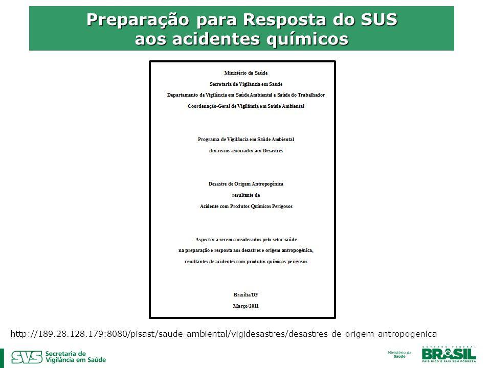 Preparação para Resposta do SUS aos acidentes químicos http://189.28.128.179:8080/pisast/saude-ambiental/vigidesastres/desastres-de-origem-antropogeni