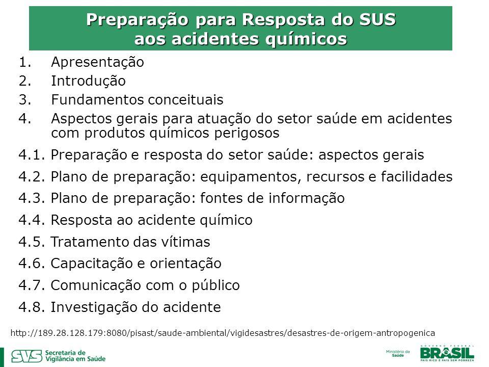 1.Apresentação 2.Introdução 3.Fundamentos conceituais 4.Aspectos gerais para atuação do setor saúde em acidentes com produtos químicos perigosos 4.1.