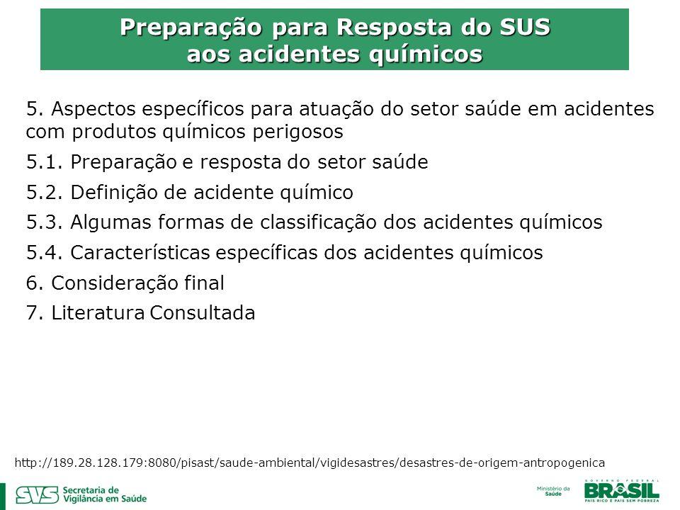 5. Aspectos específicos para atuação do setor saúde em acidentes com produtos químicos perigosos 5.1. Preparação e resposta do setor saúde 5.2. Defini