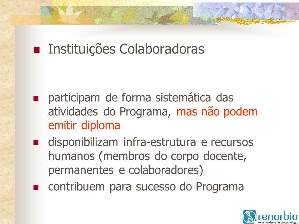Instituições Colaboradoras participam de forma sistemática das atividades do Programa, mas não podem emitir diploma disponibilizam infra-estrutura e r