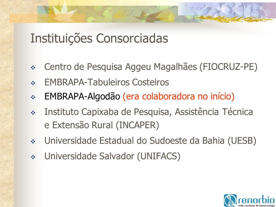 Instituições Consorciadas Centro de Pesquisa Aggeu Magalhães (FIOCRUZ-PE) EMBRAPA-Tabuleiros Costeiros EMBRAPA-Algodão (era colaboradora no início) In