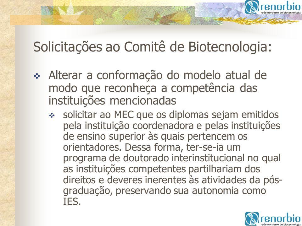 Solicitações ao Comitê de Biotecnologia: Alterar a conformação do modelo atual de modo que reconheça a competência das instituições mencionadas solici