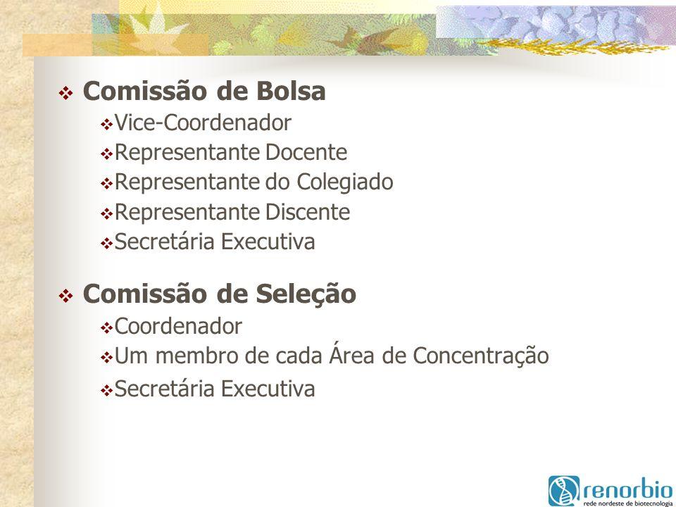 Comissão de Bolsa Vice-Coordenador Representante Docente Representante do Colegiado Representante Discente Secretária Executiva Comissão de Seleção Co