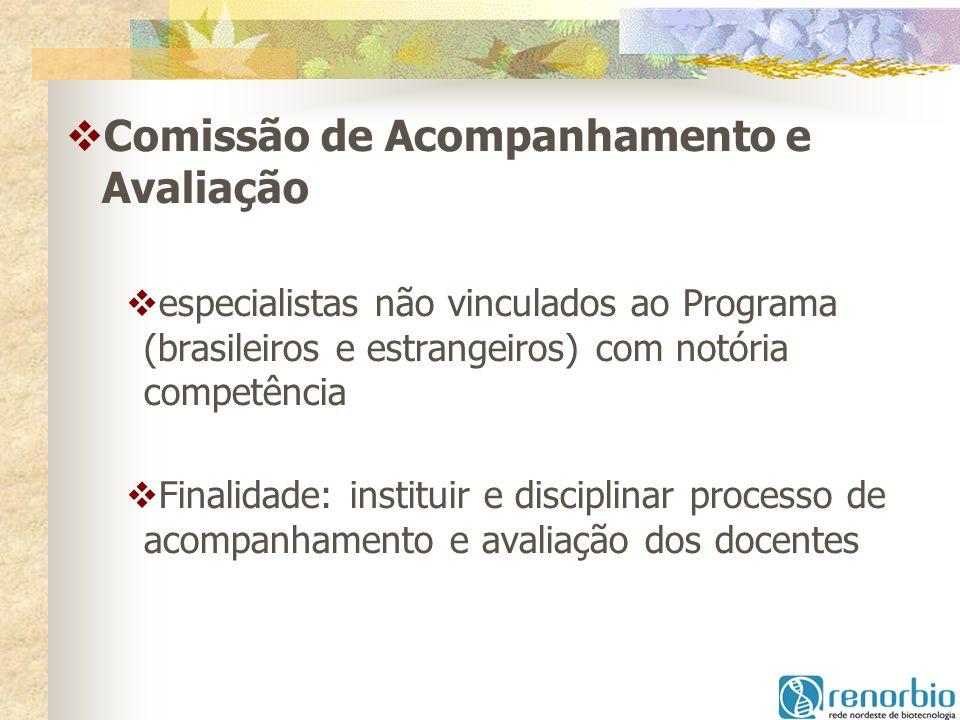 Comissão de Acompanhamento e Avaliação especialistas não vinculados ao Programa (brasileiros e estrangeiros) com notória competência Finalidade: insti