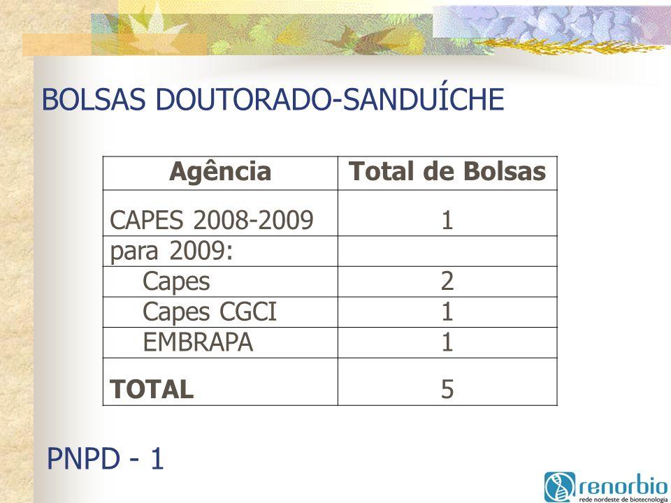 BOLSAS DOUTORADO-SANDUÍCHE AgênciaTotal de Bolsas CAPES 2008-20091 para 2009: Capes2 Capes CGCI1 EMBRAPA1 TOTAL5 PNPD - 1