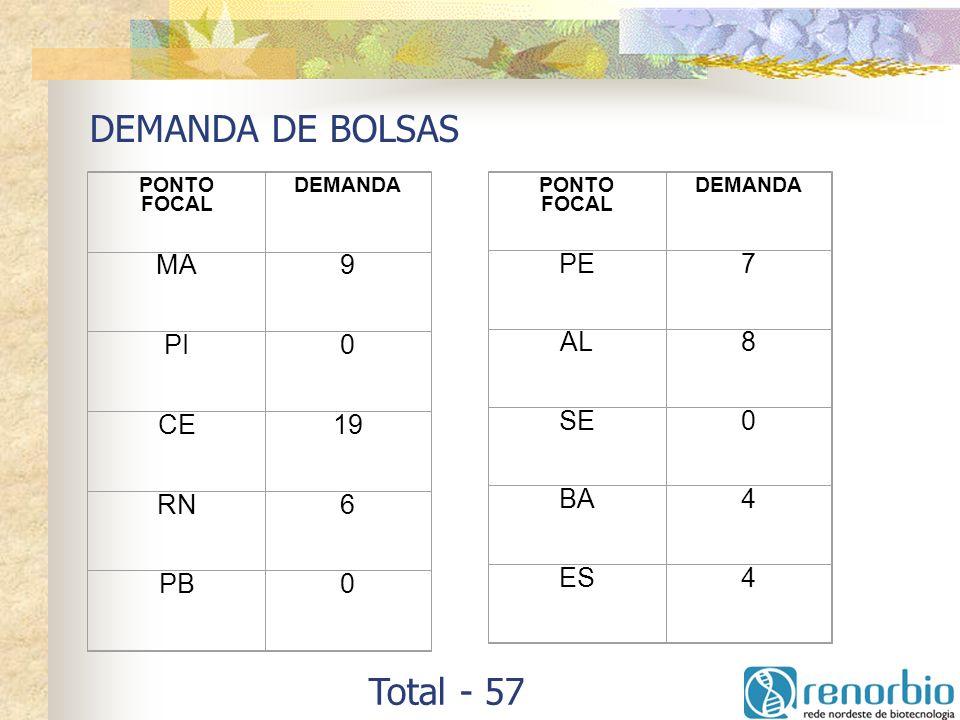 DEMANDA DE BOLSAS PONTO FOCAL DEMANDA MA9 PI0 CE19 RN6 PB0 PONTO FOCAL DEMANDA PE7 AL8 SE0 BA4 ES4 Total - 57