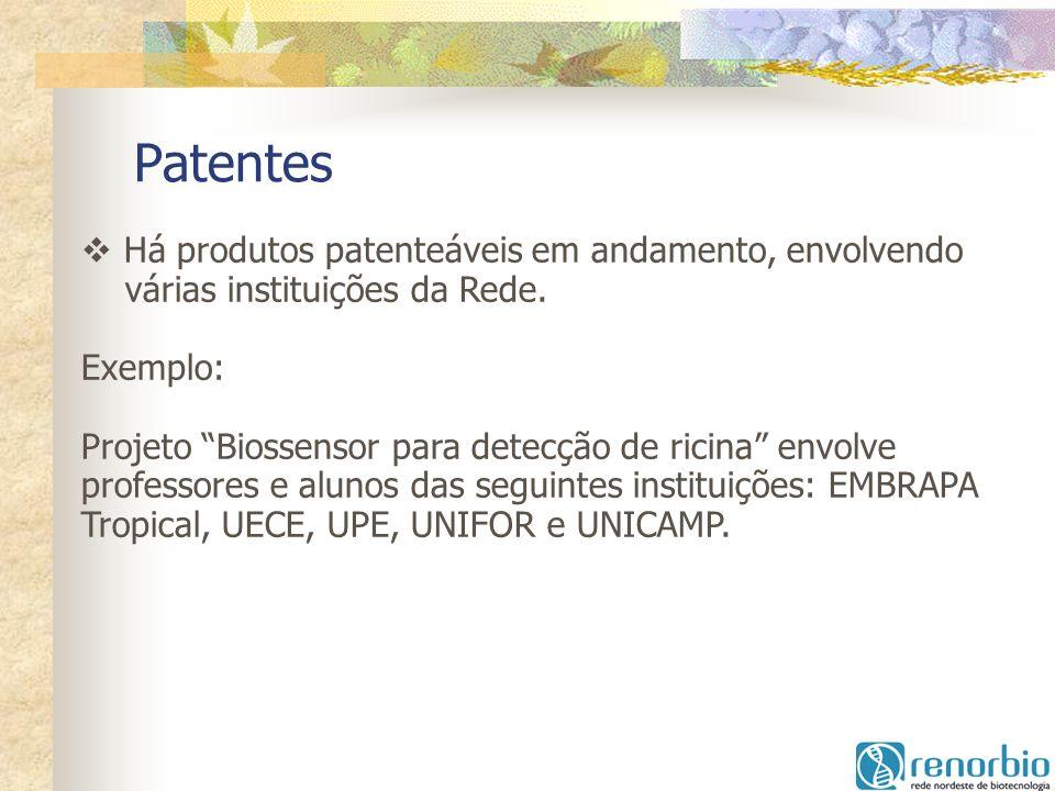 Patentes Há produtos patenteáveis em andamento, envolvendo várias instituições da Rede. Exemplo: Projeto Biossensor para detecção de ricina envolve pr