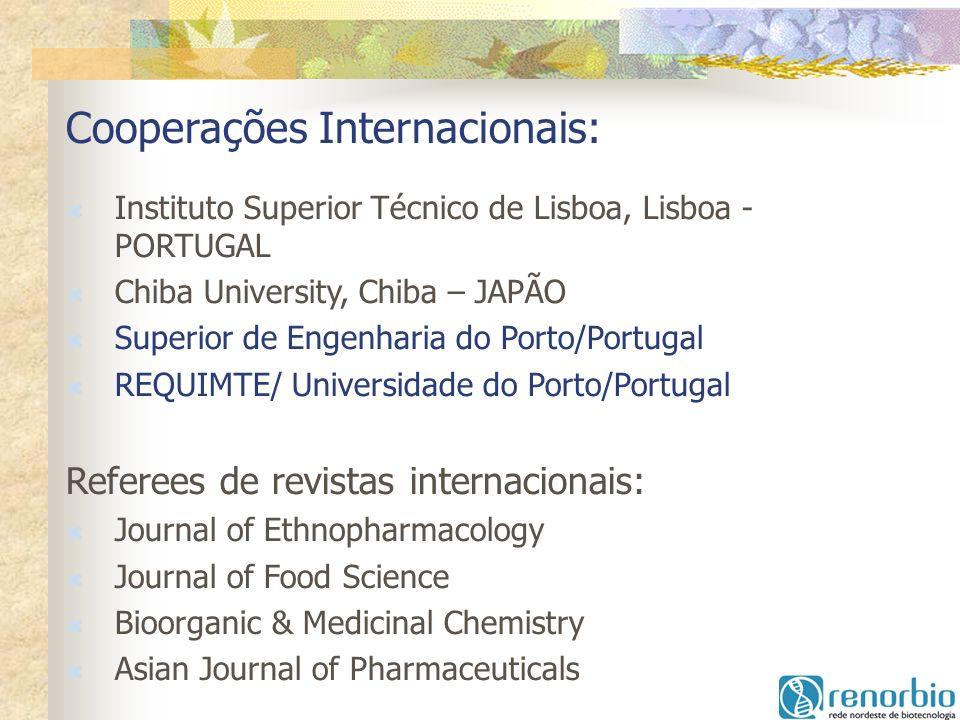 Cooperações Internacionais: Instituto Superior Técnico de Lisboa, Lisboa - PORTUGAL Chiba University, Chiba – JAPÃO Superior de Engenharia do Porto/Po