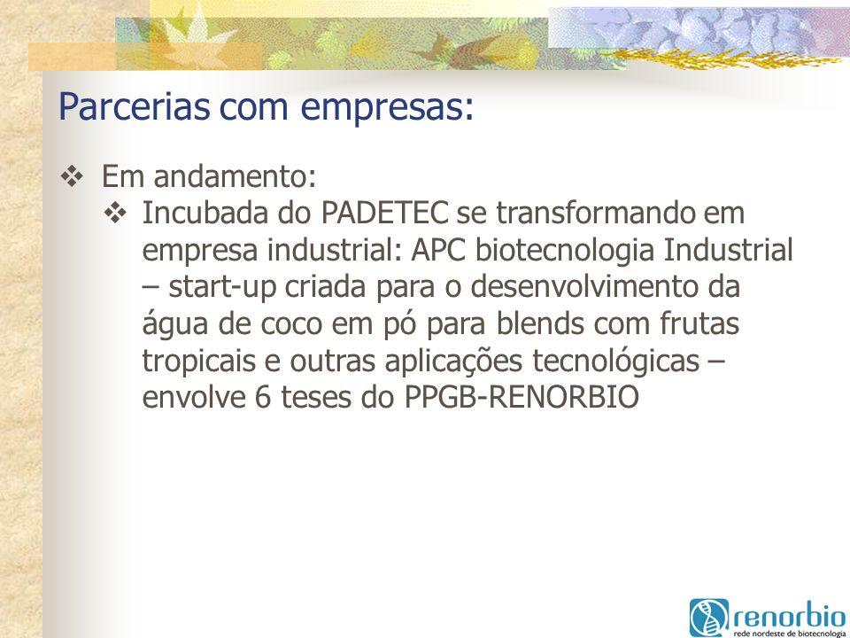 Parcerias com empresas: Em andamento: Incubada do PADETEC se transformando em empresa industrial: APC biotecnologia Industrial – start-up criada para